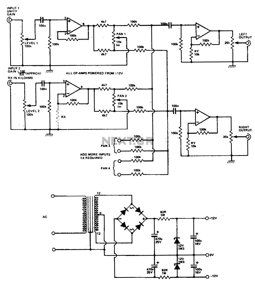 Audio Mixer Circuit Diagram With Pcb Layout - PCB Circuits
