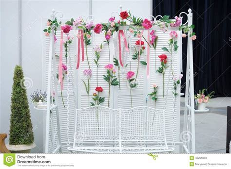 Garden Swing With Flowers As Decoration Stock Image
