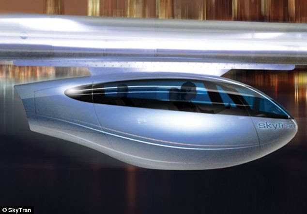 Jet-like: The transport system will use cutting edge technology to see two-person pods (illustrated) suspended from magnetic tracks, so they appear to hover
