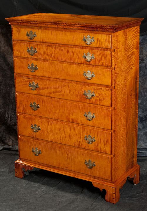 tiger maple chest of drawers