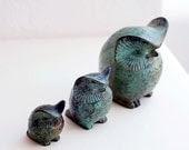 Bronze Owl Family,Bronze Owl Verdigris Greek Sculpture,Greek sculpture,metal sculpture - GreekMythos
