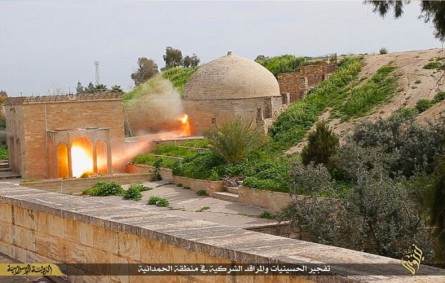 Blast:The ancient building, built by Assyrian king Senchareb 1,600 years ago, stood in the Christian-dominated town of Bakhdida, just 20 miles south east of oil rich ISIS stronghold Mosul