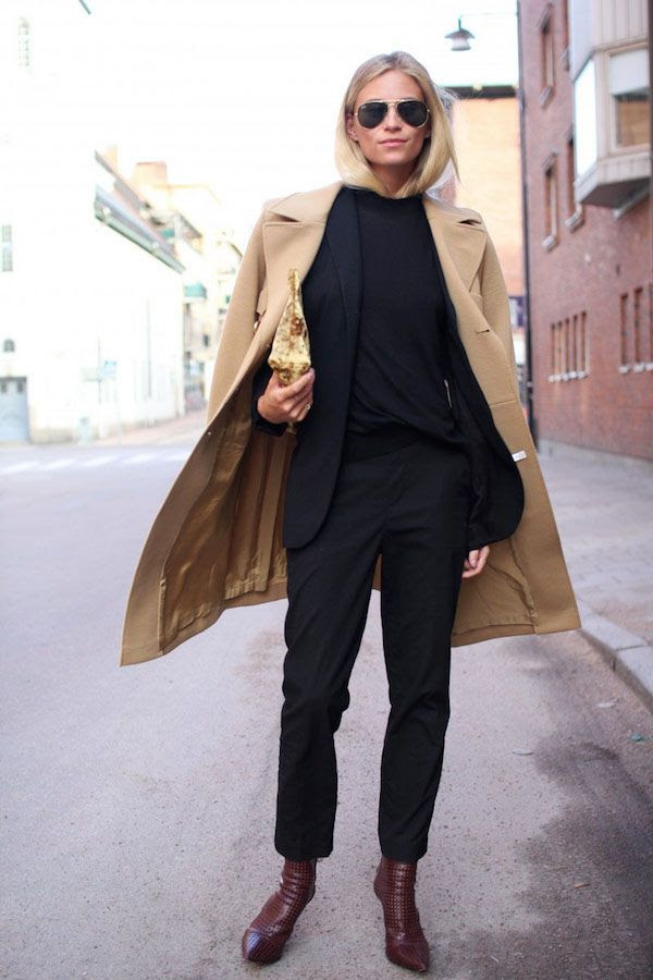 Le Fashion Blog Camel Coat Office Style Black On Black Look Suit Burgundy Pointed Toe Boots Fall Winter Via The Fashion Eaters