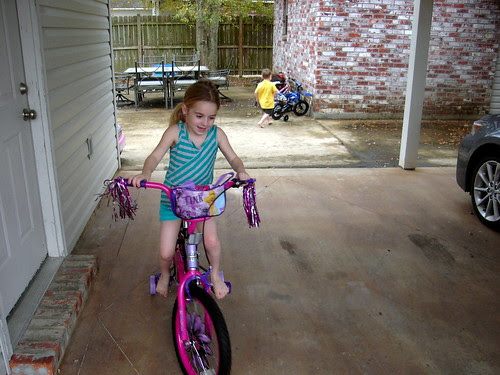 Riding her new bike