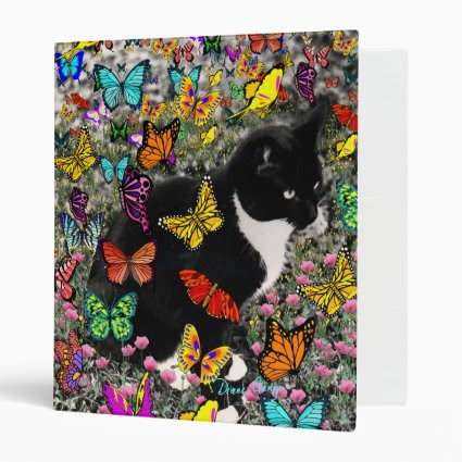 Freckles in Butterflies - Tuxedo Kitty 3 Ring Binders