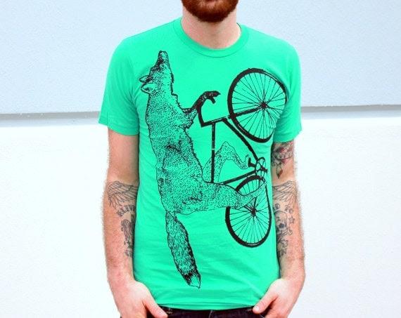 MENS BIKE Shirt Fox on a BICYCLE Mint Green Unisex  American Apparel TShirt