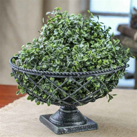 Black and Green Wrought Iron Pedestal Bowl   Baskets