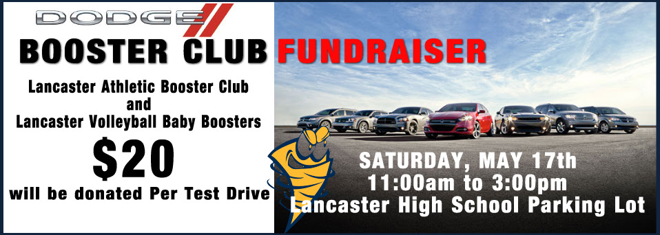 Dodge Test Drive - $20 donated to Lancaster Athletic Booster Club and Lancaster Volleyball Baby Booster  - May 17th