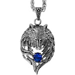 """Evelots Men's Tribal Wolf Biker Pendant/Necklace-Stainless Steel-24"""" Chain"""