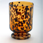 Diamond Star Corp. Leopard Glass Hurricane Vase
