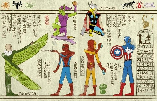 Estos jeroglíficos llevan a tus héroes favoritos al antiguo egipcio