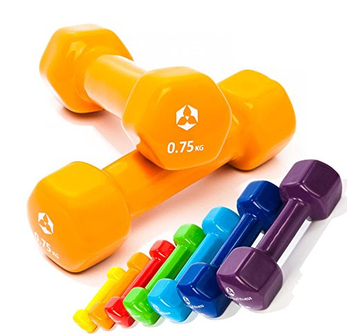 Vinyl dumbbells »Hexagon«, dumbbells in various weight and colour variations / 0.75 kg, orange