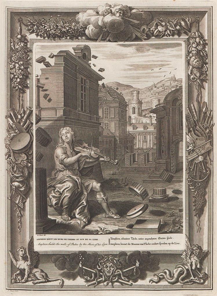 Bernard Picart engraving of seated person playing violin (+ ornate baroque border)