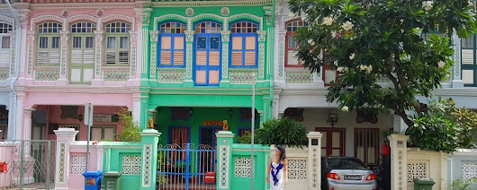 Singapore : Rows of Pastel-colored Peranakan Terrace House in Katong - Chic . Explore . ThinkerTen