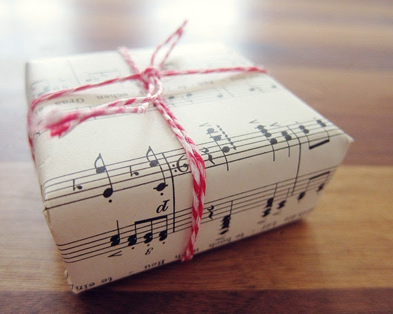 music paper and christmas wrapping