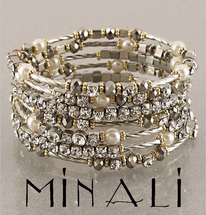 Coco - Silver,Pearl, Topaz & Gold Spiral Wrap Bracelet