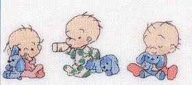Punto de Cruz GRATIS: Cenefa de Bebes graciosos.