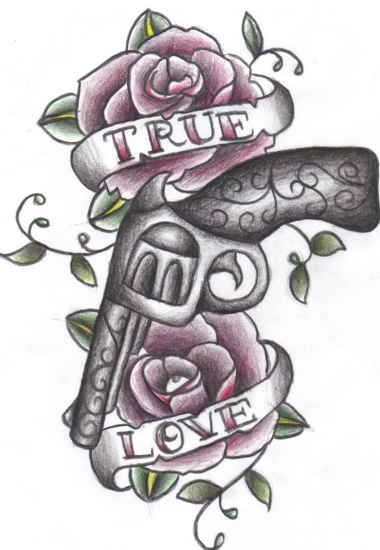 Rose Flowers And Gun With True Love Banner Tattoo Design