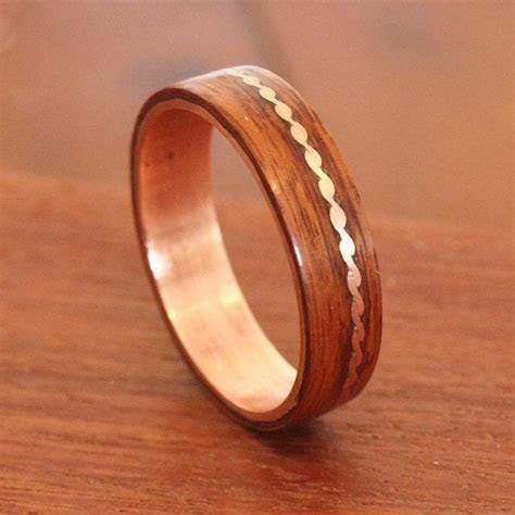 Wooden Rings   Bentwood Titanium and Walnut Inlay Rings