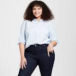 Women's Plus Size Long Sleeve Camden Button-Down Shirt - Universal Thread Blue 4X, Size: 4XL