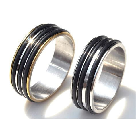 6pcs Wholesale Stainless Steel Rubber Band Rings For Men