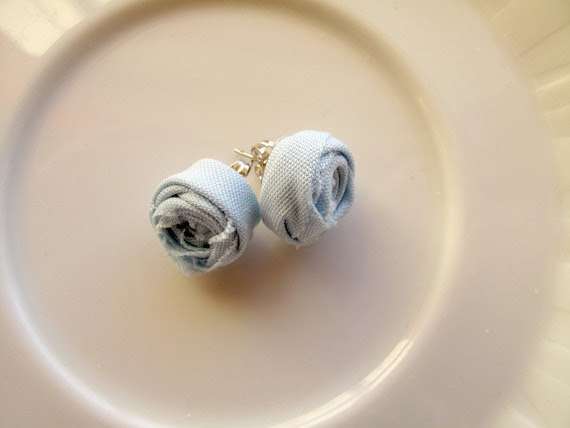 Bias Tape Rosette Earrings- Baby Blue