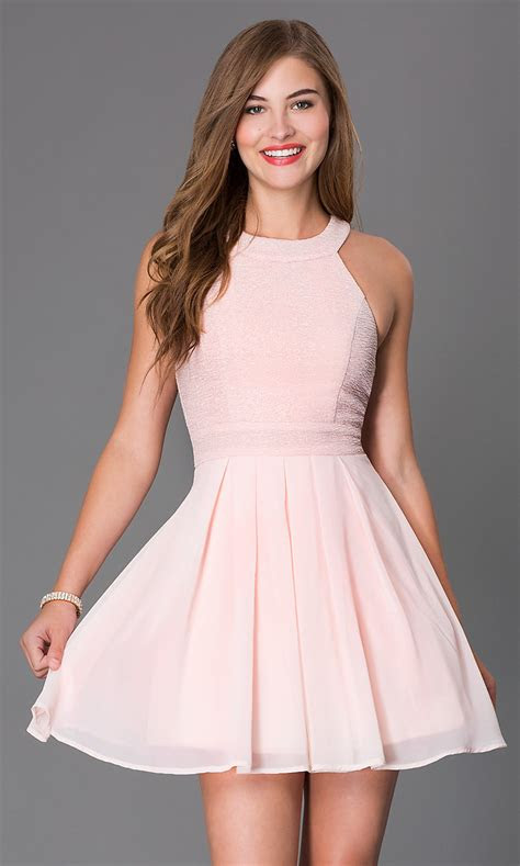 short sleeveless fit  flare dress promgirl