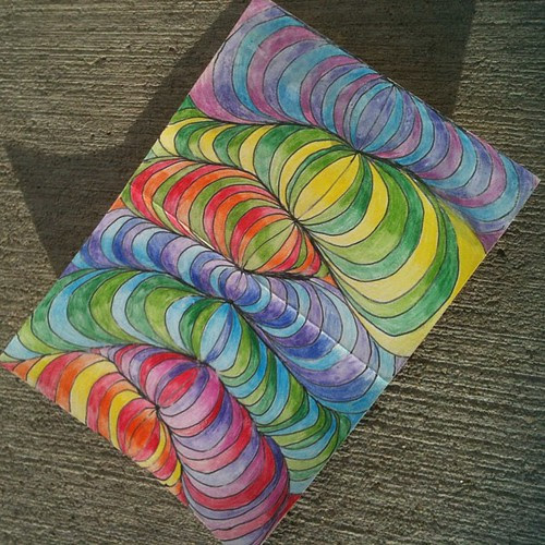 Art project with Noah. (He picked the colors.). I used watercolor pencils, very cool.