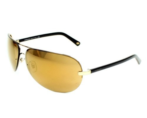 4563809963b74 NO One MAD About Versace Sunglasses VE 2117 1221 7D Metal - Acetate plastic  Gold - Black Brown mirror