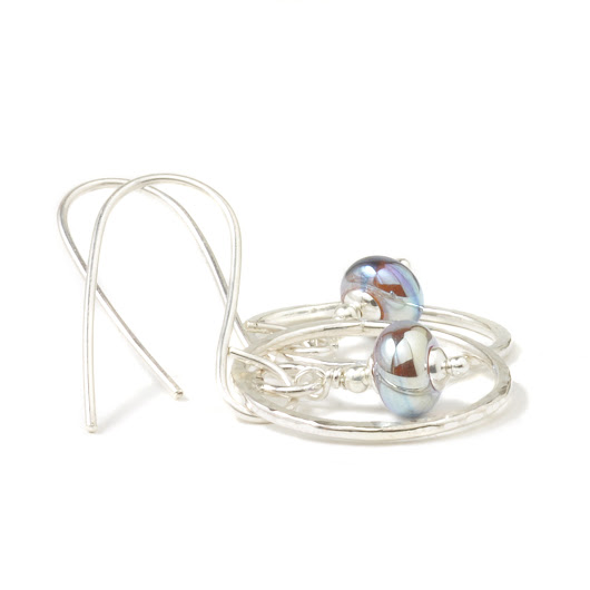 Lampwork Silver Hoop Earrings | Handmade Glass Hoop Earrings in Sterling Silver | UK Handmade Jewellery