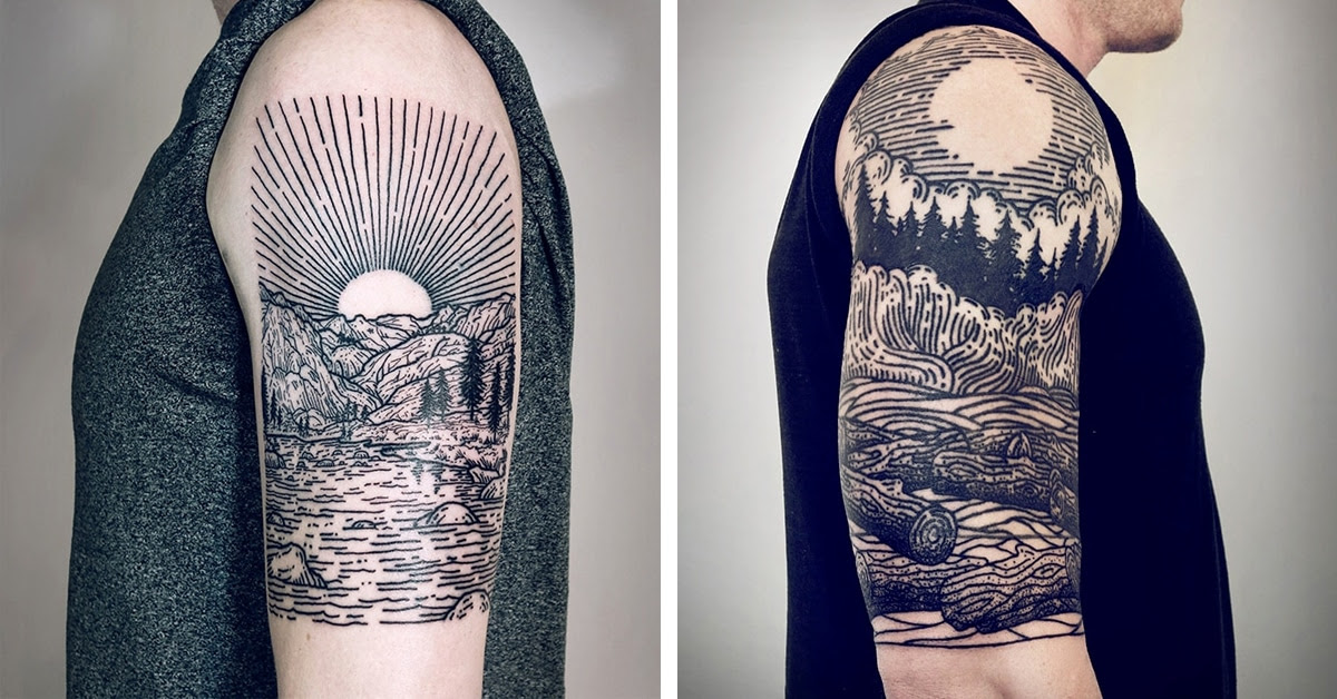 Tattoo Artists Signature Linework Depicts Mythical Scenes