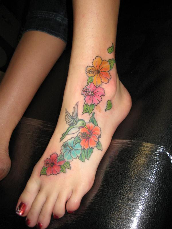 Hawaiian Turtle And Flowers Tattoo On Girl Left Foot