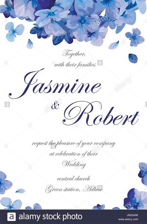 Wedding invitation flower invite card design with blue