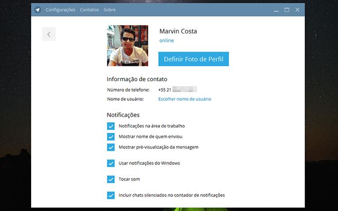 Configuração para foto de perfil, nome de usuário e notificações do Telegram no PC (Foto: Reprodução/Marvin Costa)