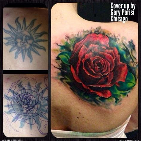 big red rose cover cover tattoos cover tattoo
