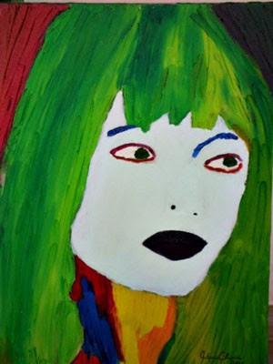 Tela que Almeida pintou e, por acaso, se parece com Stefania (Foto: Acervo pessoal/ Antônio Almeida)