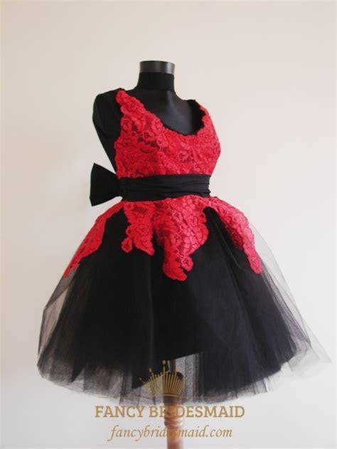 Short Red And Black Prom Dresses, Short Lace Dresses For
