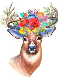 Boho Flower Crown Stag Printable