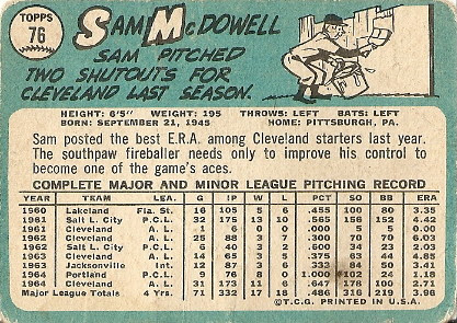Sam McDowell (back) by you.