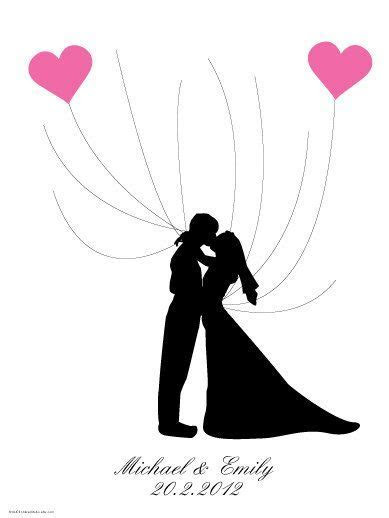 DIY Kissing Wedding Couple Silhouette Wedding Guest Book