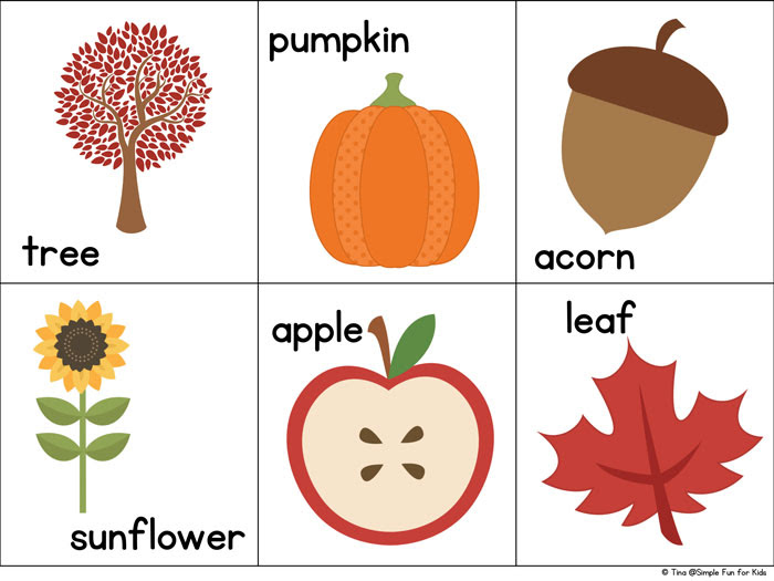 fall matching game for toddlers printable 1