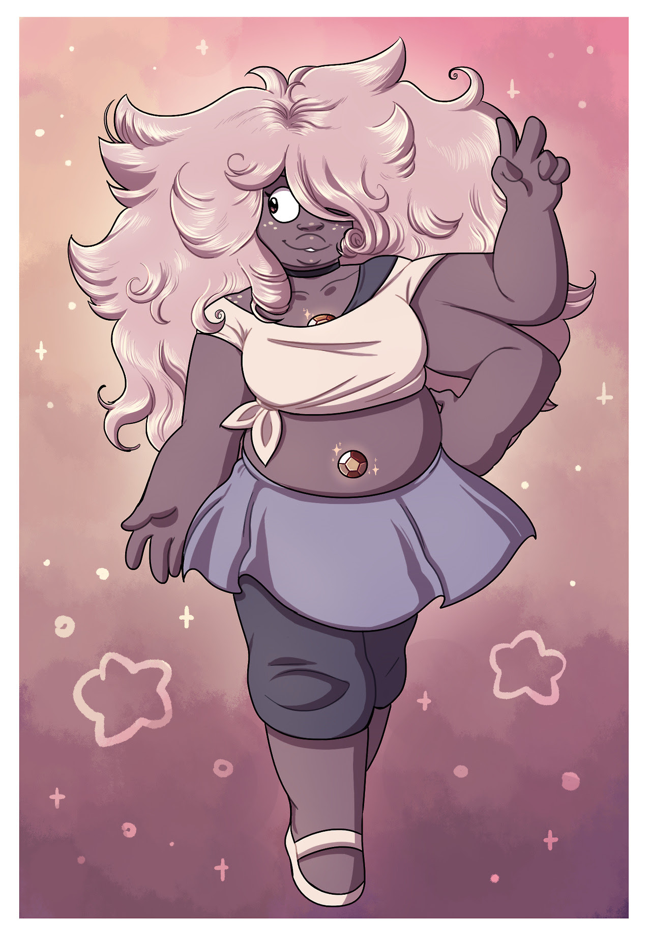 My idea of what an Amethyst/Rose fusion would look like, in other words the first Smoky Quartz!