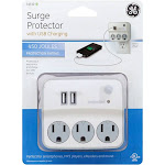 GE - 3-Outlet/2-USB Wall Tap Surge Protector - White