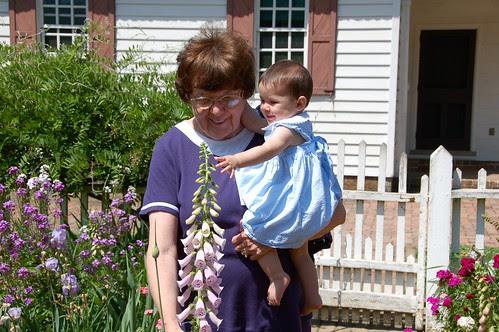 Grammy and Amelia enjoy the flowers