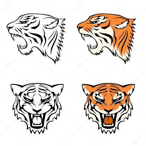 simple  illustrations  tiger head suitable  tattoo