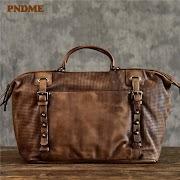 Sale PNDME fashion vintage genuine leather men's briefcase casual designer high quality cowhide luxury business laptop shoulder bag
