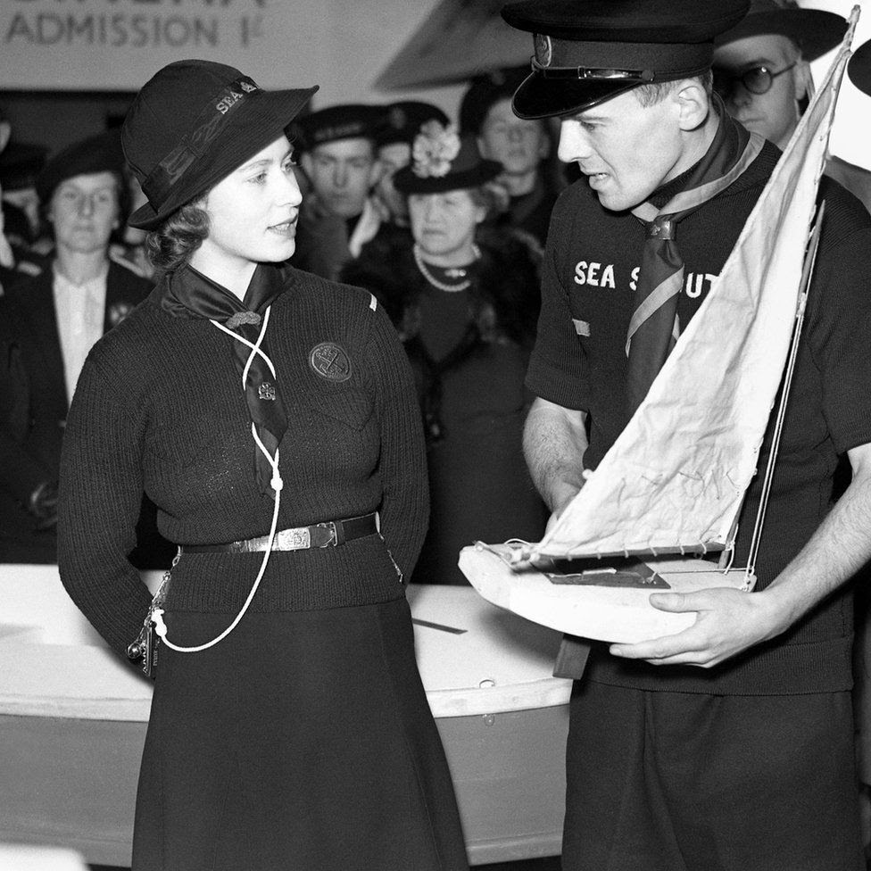 Princess Elizabeth visiting the National Sea Scouts Exhibition at the London Scottish Headquarters in Buckingham Gate