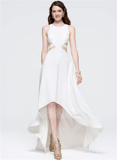 A Line/Princess Scoop Neck Asymmetrical Satin Prom Dresses