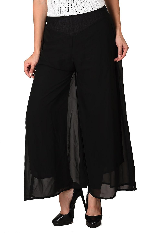 Deals on Women Stylish Solid Black Georgette Plazzo