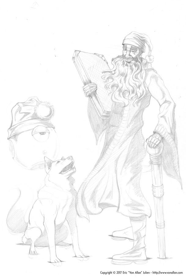Rough pencil sketch for a Bill and Butch Wizards Christmas Card by Von Allan